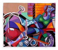 Motorcycle Mama Fleece Blanket