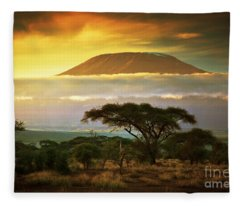 Mount Kilimanjaro Savanna In Amboseli Kenya Fleece Blanket