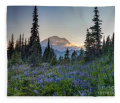 Mount Rainer Flower Fields Fleece Blanket