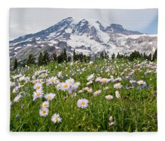 Mount Rainier And A Meadow Of Aster Fleece Blanket