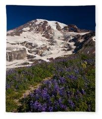Mount Rainier Wildflower Meadows Fleece Blanket