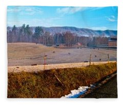 Mountain Farm Panorama Version 2 Fleece Blanket