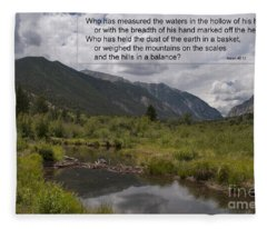Mountain Stream And Isaiah 40 12 Fleece Blanket