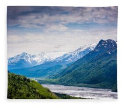 Mountains Along Seward Highway Fleece Blanket