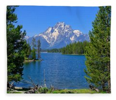 Mt Moran At Half Moon Bay Fleece Blanket