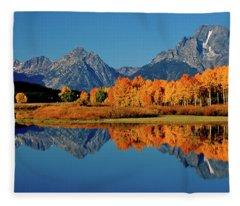 Mt. Moran Reflection Fleece Blanket