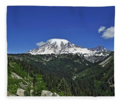 Mt Rainier Between The Valley Fleece Blanket