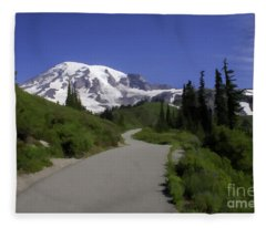 Mt Rainier Painted Fleece Blanket