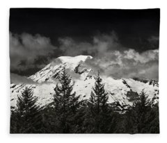 Mt Rainier Panorama B W Fleece Blanket