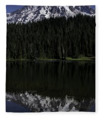 Mt Rainier Reflected In Reflection Lake Fleece Blanket