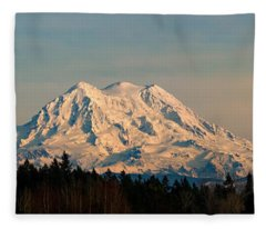 Mt Rainier Winter Panorama Fleece Blanket