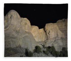 Mt. Rushmore At Night Fleece Blanket