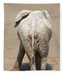 Muddy Elephant With Funny Stance  Fleece Blanket