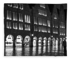 Cobblestone Night Walk In The Town Fleece Blanket