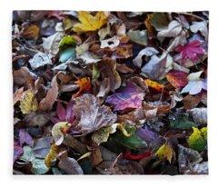 Multicolored Autumn Leaves Fleece Blanket