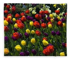 Colorful Tulip Field Fleece Blanket