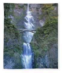 Multnomah Falls Columbia River Gorge Fleece Blanket