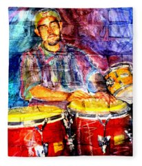 Musician Congas And Brick Fleece Blanket