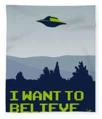 My I Want To Believe Minimal Poster Fleece Blanket