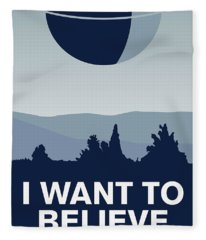 My I Want To Believe Minimal Poster-deathstar Fleece Blanket