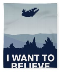 My I Want To Believe Minimal Poster-millennium Falcon Fleece Blanket
