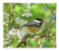 My Little Chickadee In The Cherry Tree Fleece Blanket