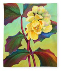 Fleece Blanket featuring the painting My Oregon Grape by Sandi Whetzel
