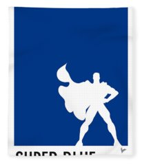 My Superhero 03 Super Blue Minimal Poster Fleece Blanket