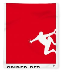 My Superhero 04 Spider Red Minimal Poster Fleece Blanket
