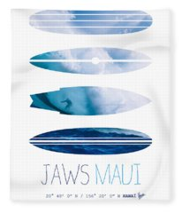 My Surfspots Poster-1-jaws-maui Fleece Blanket