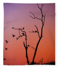 Mysterious Sunset With Solo Of The Tree And Choir Of Birds  Fleece Blanket