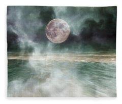 Mystical Beach Moon Fleece Blanket
