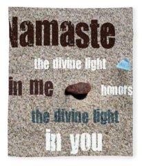 Namaste With Beach Glass And Pebble Fleece Blanket