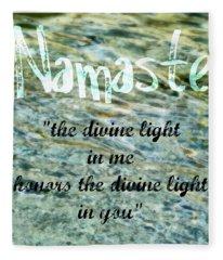 Namaste With Crystal Waters Fleece Blanket