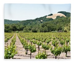 Napa Vineyard With Hills Fleece Blanket