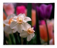 Narcissus And Tulips Fleece Blanket