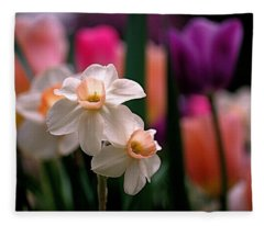 Narcissus And Tulips Fleece Blanket