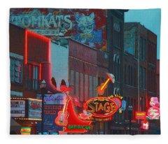 Broadway Street Nashville Tennessee Fleece Blanket