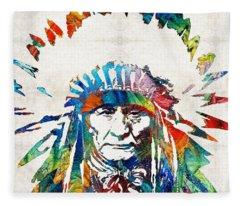 Native American Art - Chief - By Sharon Cummings Fleece Blanket