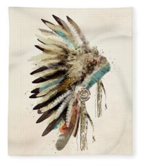 Native Headdress Fleece Blanket