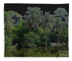 Green Black Palm Tree Fleece Blanket