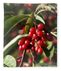 Natures Gift Of Red Berries Fleece Blanket