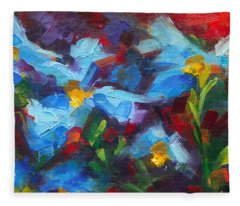 Nature's Palette - Himalayan Blue Poppy Oil Painting Meconopsis Betonicifoliae Fleece Blanket