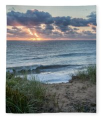 Nauset Light Beach Sunrise Square Fleece Blanket