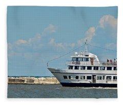 Nautica Queen In Lake Erie Harbor Fleece Blanket