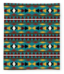 Navajo Teal Pattern Fleece Blanket