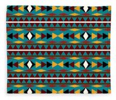 Navajo Teal Pattern Fleece Blanket