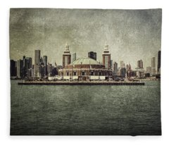 Navy Pier Fleece Blanket