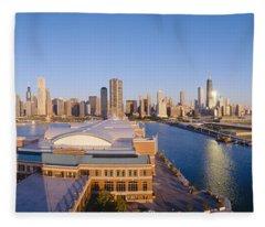 Navy Pier, Chicago, Morning, Illinois Fleece Blanket