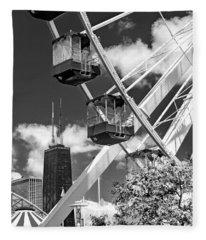 Navy Pier Ferris Wheel Black And White Fleece Blanket